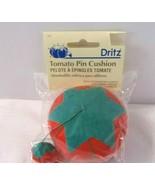 Tomato Pincushion with Emery Sharpener Dritz Green Red 732 Pin Cushion NEW - $9.85