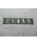 Antq. Victorian/Art Deco Egyptian Revival Filigree Panel Bracelet 800 Si... - $94.00