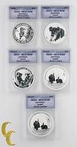 1993-2011 AUSTRALIA Dólar Moneda Lot of 5 Kookaburra, Koala, conejo MS70... - $331.98