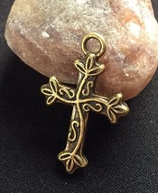 Financial Security Pagan Spell Money Amulet Bronze Cross Wicca Elemental Magick - $15.00