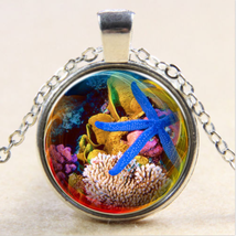 SEA LIFE STAR FISH CABOCHON NECKLACE   >>  C/S & H AVAILABLE  <<   (50 - $2.80