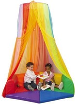 Constructive Playthings Rainbow Retreat Canopy for Kids, Hanging Multi-Colored M