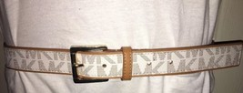 MICHAEL KORS BELT VANILLA WITH TAN EDGING AND BELT LOOP VERY NICE!! SHIP... - $35.99