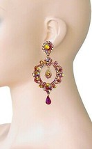 """3.5"""" Iridescente AB Red Crystals Vintage Inspired Hoop Earrings Casual Chic - $20.90"""