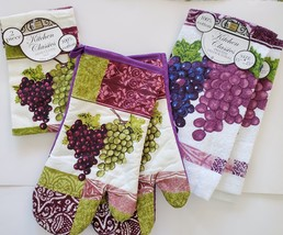 PURPLE GRAPES KITCHEN SET 5-pc Towels Oven Mitts Dishcloths Wine Grape Vine - $14.99