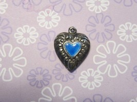 Vintage Sterling silver enameled puffy heart charm- BLUE HEART  middle o... - $32.00