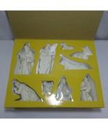 9 Piece Ivory Porcelain Christmas Nativity Set 23K Gold Accents Midweste... - $111.34