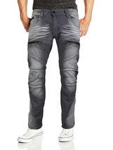 Contender Men's Cotton Moto Quilted Zip Distressed Ripped Destroyed Denim Jeans image 4