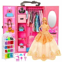 Dollhouse Furniture 73 Items/Set Wardrobe Doll Accessories Clothes Fashi... - $74.99