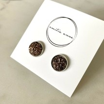 Druzy Quartz Post Earrings Sparkle Scott Dark Brown Drusy - $21.34