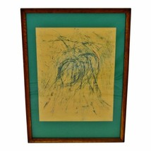 Vintage Framed Pastel Abstract Drawing - Artist Signed - $295.00