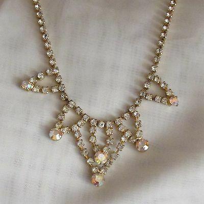 VINTAGE RHINESTONE NECKLACE GOLD TONE ADJUSTABLE PROM WEDDING JEWELLERY SPARKLE