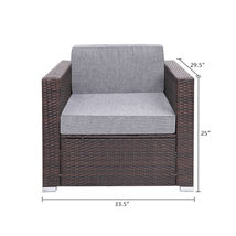 7 Pieces Patio PE Wicker Rattan Corner Sofa Set image 3