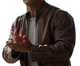 Rampage Movie Jacket Davis Okoye Distressed Brown Dwayne Johnson Leather Jacket image 3