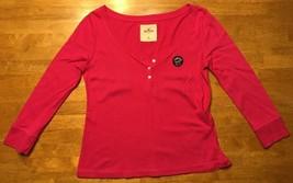 Hollister Women's Pink 3/4 Sleeve Button Down Henley Shirt - Size: XS - $14.84
