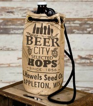Drawstring BEER CITY GROWLER BAG Wine Bottle Canvas Tote Carrying Pouch ... - $47.99