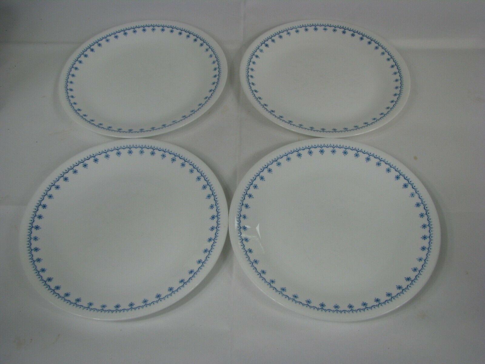 "Corelle Snowflake Blue Garland 8 1/2"" Luncheon Plates  Vintage Set of 4 Corning  - $16.82"