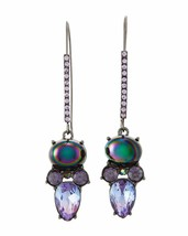 Betsey Johnson Gunmetal-tone Cluster Drop Earrings Iridescent Rainbow St... - $24.74