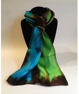 Hand Painted Silk Scarf Lime Green Chestnut Brown Turquoise Blue Head Ne... - $46.00