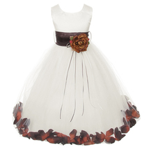 Ivory Satin Bodice Layers Tulle Skirt Chocolate Flower Ribbon Brooch and Petals - $48.00