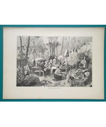 RUSSIA Russian Funeral Burial Ceremony at Cemetery - 1880s Wood Engravin... - $16.20