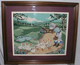 "Needlepoint Goose Girl w Frame Dbl Matting and Glass 19X23"" Geese Hand S... - $143.99"