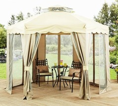 Outdoor Steel Gazebo Large Canopy Shelter 6 Sided with Mosquito Netting ... - $286.01