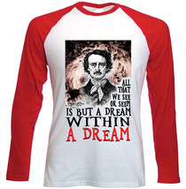 EDGAR ALLAN POE WITHIN A DREAM - NEW RED LONG SLEEVES COTTON TSHIRT - $26.97