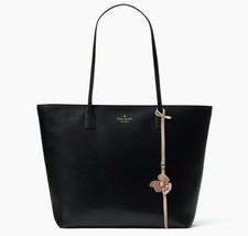Kate Spade Karla Black Smooth Leather Tote Flower Dangle Felicity Str. $329 NWT - $128.99
