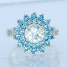 White and Swiss Blue Topaz Handmade 925 Silver Double Halo Ladies Ring size 7.25 - £123.05 GBP