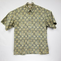 Campia Moda Short Sleeve Men's Size Large Hawaiian Aloha Shirt Tan Geo print EUC - $17.57