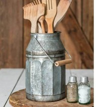 Rustic GALVANIZED MILK CAN With HANDLE Country Primitive Farmhouse Kitchen - £36.64 GBP
