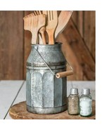 Rustic GALVANIZED MILK CAN With HANDLE Country Primitive Farmhouse Kitchen - £34.25 GBP