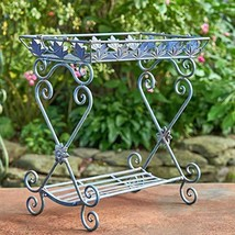 Two Tier Rectangular Plant Stand Tray Table (Cobalt Blue) - $114.95