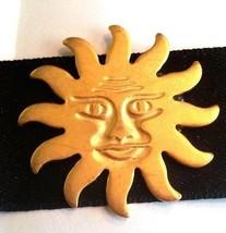 Black Satin Choker with Gold Tone Metal Sun New Old Stock - $12.29