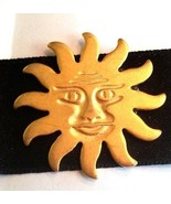 Black Satin Choker with Gold Tone Metal Sun New Old Stock - $12.29
