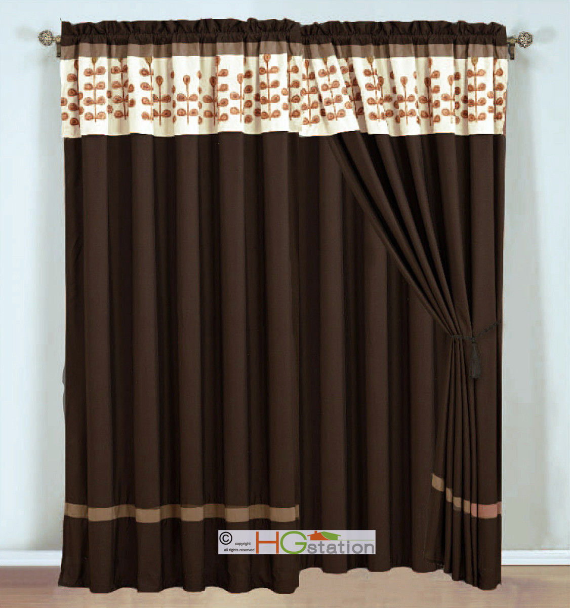Primary image for 4P Embroidery Obovate Pinnate Leaves Curtain Set Mocha Brown Beige Valance Sheer