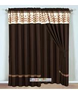4P Embroidery Obovate Pinnate Leaves Curtain Set Mocha Brown Beige Valan... - $40.89