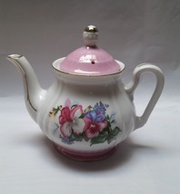 Vintage Teapot Ceramic Gold Trim Trimmed Japan Pottery Floral Crowning T... - $26.97