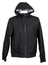 Rag Bone Christopher Leather Hooded Bomber Jacket S Black - $303.59