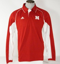 Adidas ClimaCool Nebraska Red Long Sleeve Polo Shirt Mens NWT - $41.24