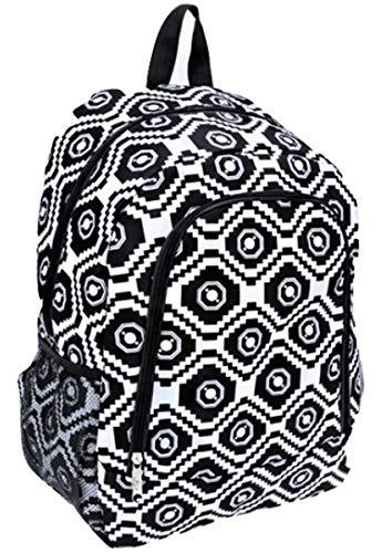 "Aztec Print 16"" School Travel Backpack Black White"