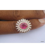 Gold Ring Diamond Ring Ruby Gemstone Ring Handmade Gold Ring - $1,045.44