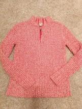 Tommy Hilfiger Orange & White 1/4 Zip Sweater w/ Side Pockets Size M - $17.00