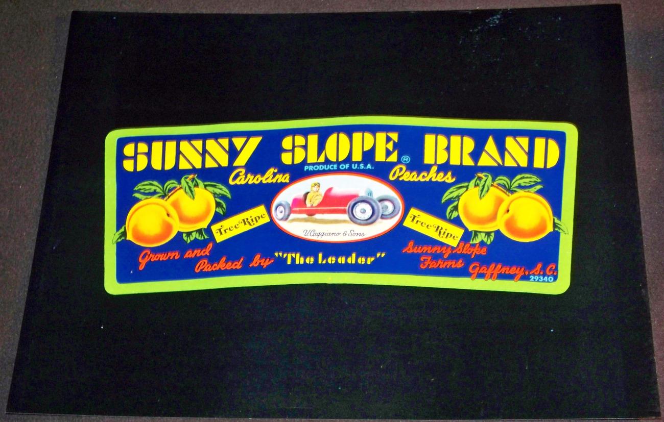 Vintage Race Car! Sunny Slope Crate Label, 1960's