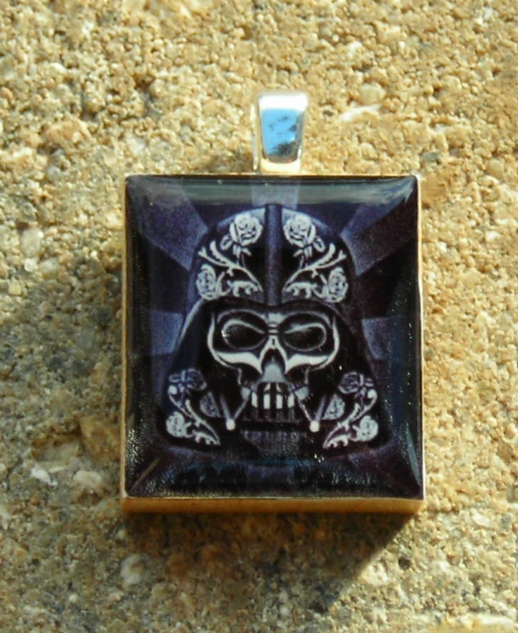 Primary image for Scrabble Wood Tile Pendant Handcrafted Jewelry Darth Vader Warrior Skull Black