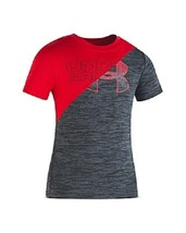 Under Armour Boys Red and Grey Split Knit Logo Graphic T Shirt New Size 4 - $17.81