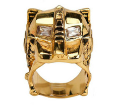 Han Cholo Gold Plated Lioness CZ Eyes Ring Size 7 NEW image 2