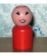 Vintage Fisher Price Little People All Wood  Red Girl - $9.00