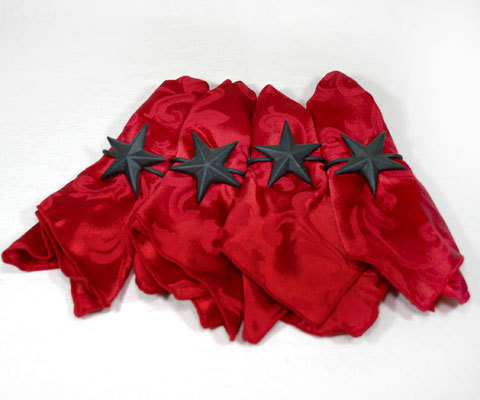 Country Western Iron Star Napkin Rings with Napkins Bonanza